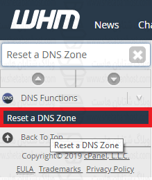 reset DNS in WHM